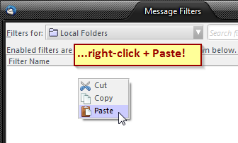 paste filters to different account