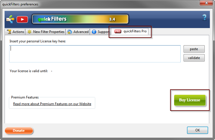 How to buy a license from options dialog